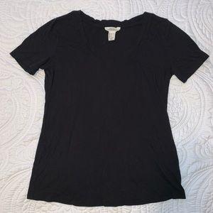 Black V-neck short sleeve T-shirt by forever 21